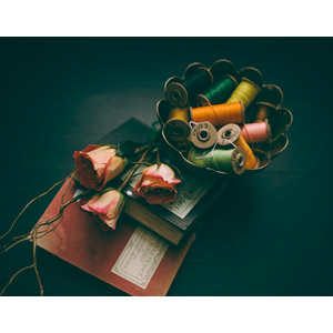 フリー写真, 本(書籍), 花, 薔薇(バラ), 裁縫道具, 糸