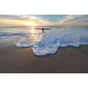 フリー写真, 風景, ビーチ(砂浜), 海, 夕暮れ(夕方), 夕日, 人と風景, 後ろ姿, 海水浴