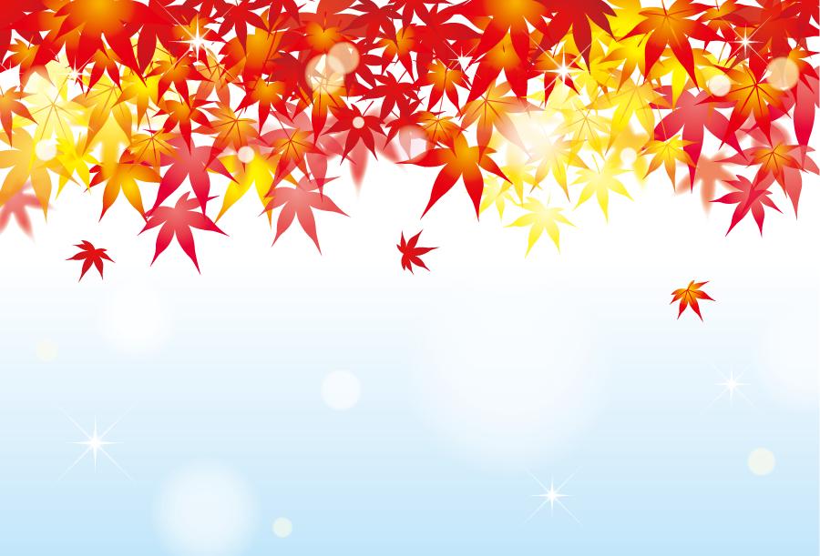 フリーイラスト 紅葉したもみじの葉の秋の背景
