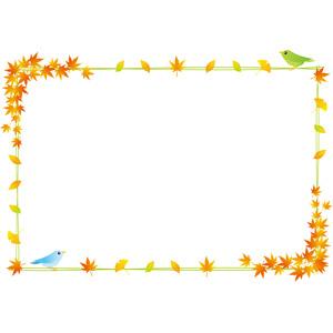 フリーイラスト, ベクター画像, EPS, 背景, 秋, 植物, 葉っぱ, もみじ(カエデ), 紅葉(黄葉), イチョウ, 落葉(落ち葉), 小鳥