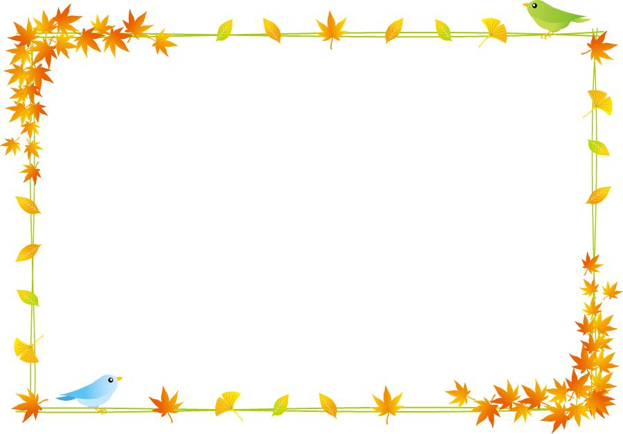 フリーイラスト 紅葉した葉と小鳥の飾り枠