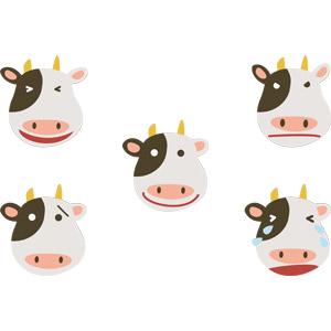 フリーイラスト, ベクター画像, AI, 動物, 哺乳類, 牛(ウシ), 動物の顔, 喜ぶ(動物), 怒る(動物), 泣く(動物), 困る(動物)