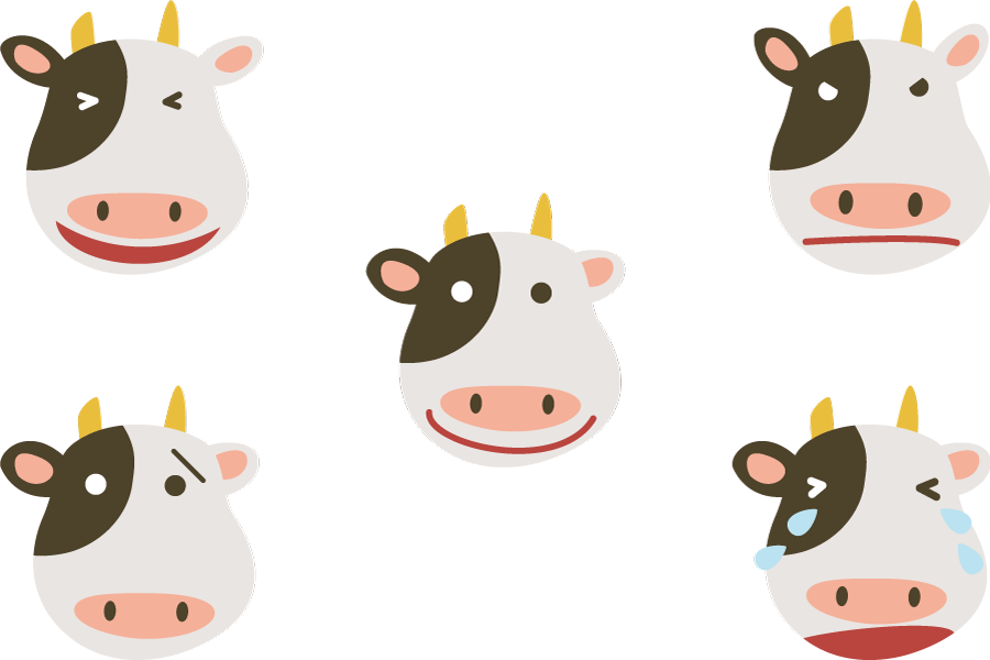 フリーイラスト 喜怒哀楽の牛の顔のセット