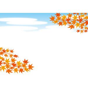 フリーイラスト, ベクター画像, EPS, 背景, 青空, 秋, 植物, 葉っぱ, もみじ(カエデ), 紅葉(黄葉)