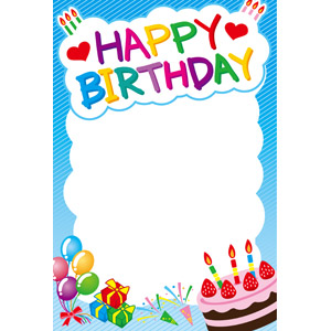 フリーイラスト, ベクター画像, EPS, 背景, フレーム, 囲みフレーム, 誕生日(バースデー), バースデーケーキ, ハッピーバースデー, パーティークラッカー