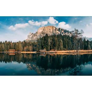 フリー写真, 風景, 山, アルプス山脈, 湖, 小屋(納屋), イタリアの風景, チロル, 森林
