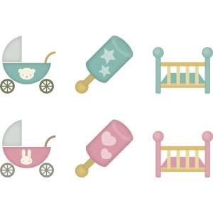 フリーイラスト, ベクター画像, AI, 育児用品, 乳母車(ベビーカー), ガラガラ, ベビーベッド