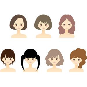 フリーイラスト, ベクター画像, AI, 人物, 女性, 美容, ツインテール, ショートヘア