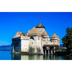 フリー写真, 風景, 建造物, 建築物, 城, シヨン城(シオン城), 湖, レマン湖, スイスの風景, 青空