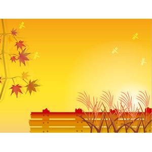フリーイラスト, ベクター画像, EPS, 背景, 秋, もみじ(カエデ), 紅葉(黄葉), 薄(ススキ), 夕暮れ(夕方), 夕焼け, とんぼ(トンボ), 柵(フェンス), オレンジ色