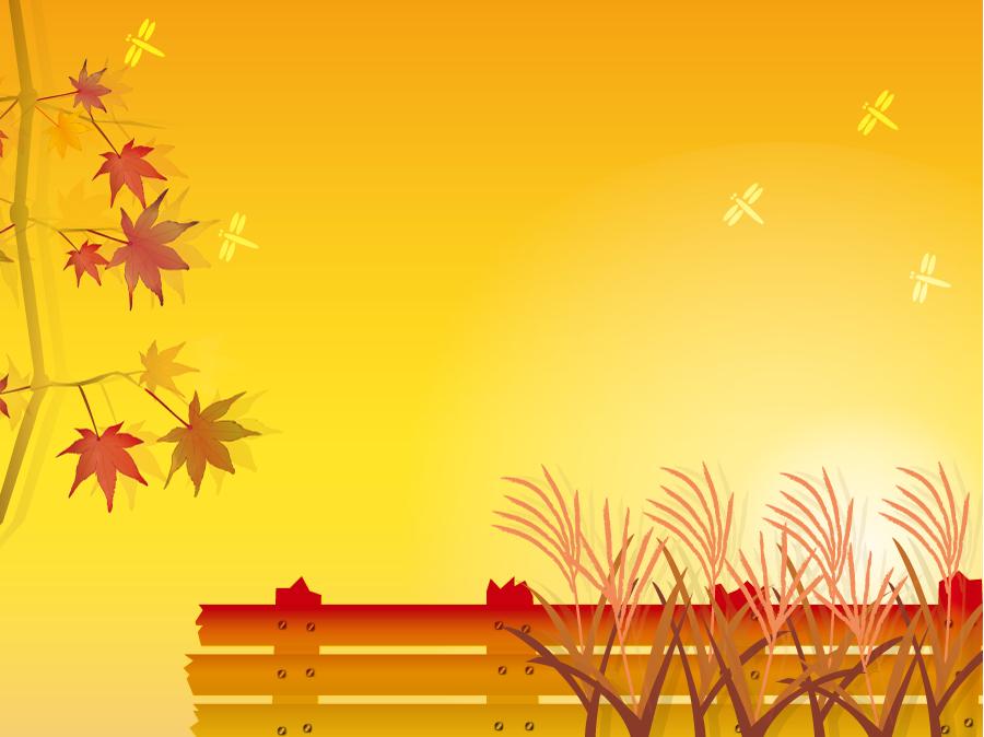 フリーイラスト 夕焼けともみじとすすきの秋の背景