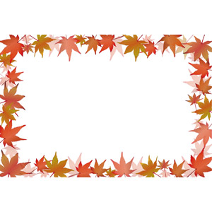 フリーイラスト, ベクター画像, EPS, 背景, フレーム, 囲みフレーム, 秋, 植物, 葉っぱ, もみじ(カエデ), 紅葉(黄葉), 落葉(落ち葉)