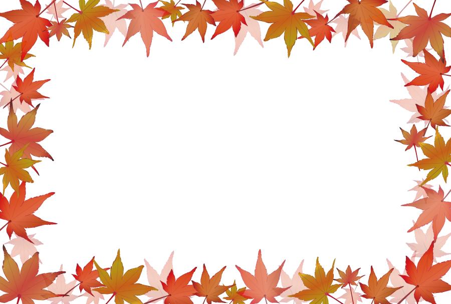 フリーイラスト 紅葉したもみじの葉の飾り枠