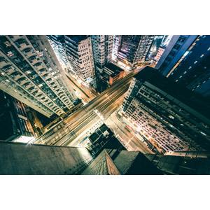 フリー写真, 風景, 建造物, 建築物, 高層ビル, マンション(団地), 道路, 夜景, 夜, 中国の風景, 香港