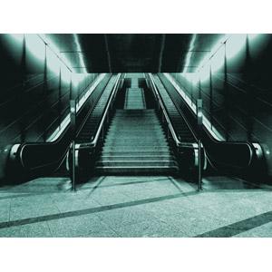 フリー写真, 風景, 階段, エスカレーター, モノクロ