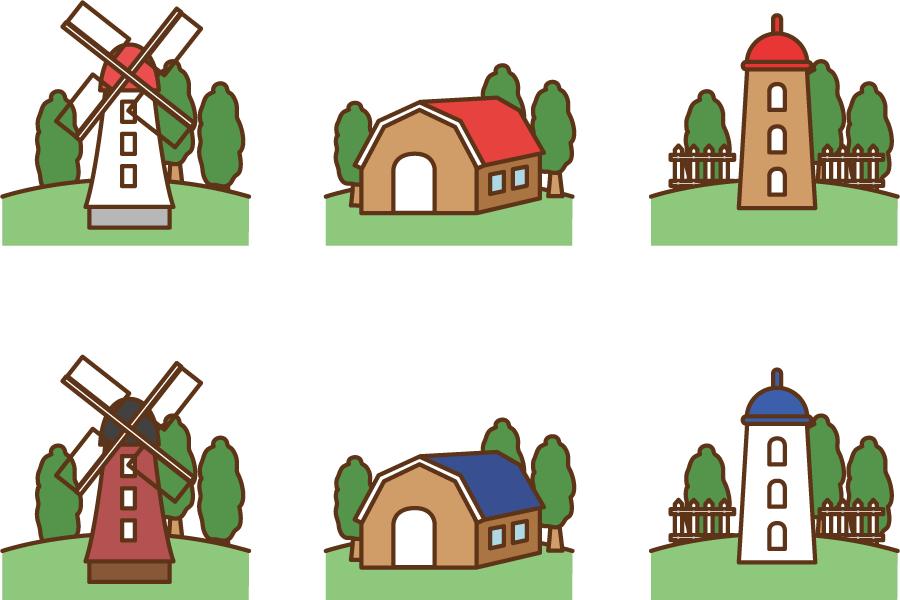 フリーイラスト 風車と家畜小屋とサイロのセット