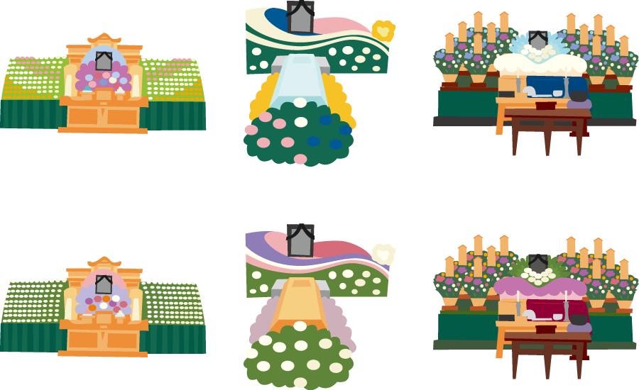 フリーイラスト 6種類のお葬式の祭壇のセット