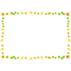 フリーイラスト, ベクター画像, AI, 背景, フレーム, 囲みフレーム, 植物, 葉っぱ, もみじ(カエデ), 紅葉(黄葉), イチョウ, 四つ葉のクローバー, クローバー(シロツメクサ), 秋