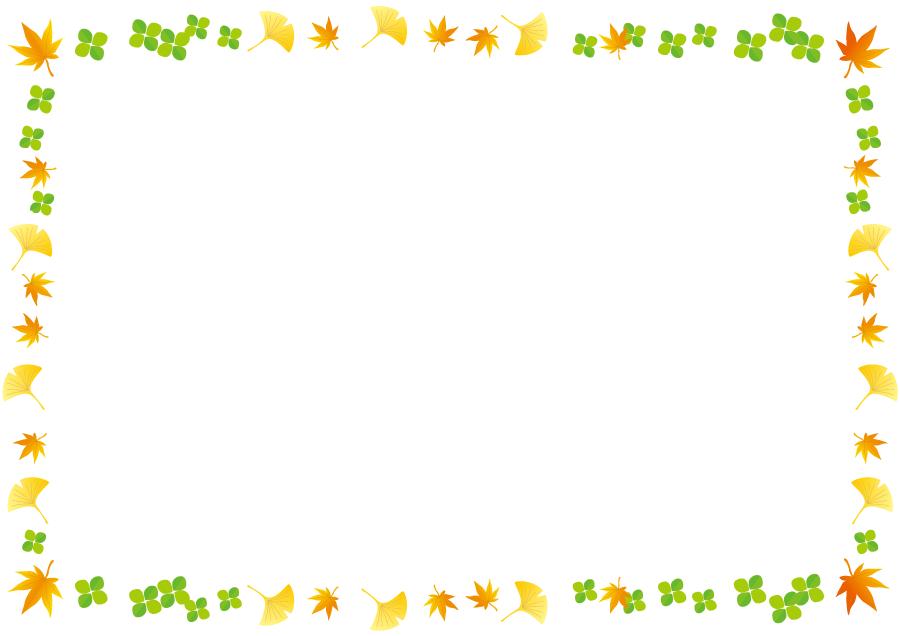 フリーイラスト イチョウとモミジとクローバーの飾り枠