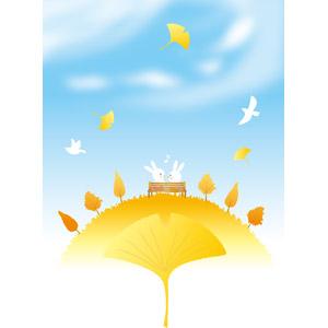 フリーイラスト, ベクター画像, AI, 背景, 秋, 植物, 葉っぱ, 紅葉(黄葉), イチョウ, 丘, 青空, 兎(ウサギ), カップル(動物)