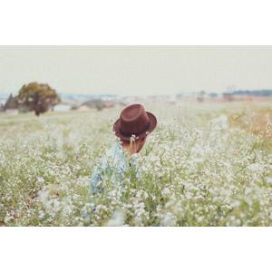 フリー写真, 人物, 男性, 帽子, 中折れハット, 後ろ姿, 人と花, 花畑, 草むら