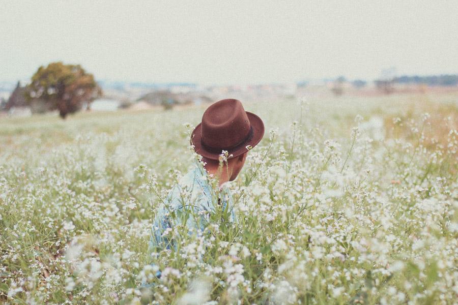 フリー写真 白い花が咲く草むらと後ろ姿の男性
