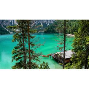 フリー写真, 風景, 湖, ブライエス湖, 船, 手漕ぎボート, イタリアの風景, チロル