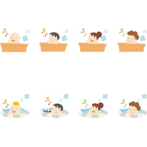 フリーイラスト, ベクター画像, AI, 人物, 男性, 女性, 祖父(おじいさん), シニア男性, 中年女性, お風呂, 入浴, 浴槽(バスタブ), 温泉, 露天風呂