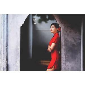フリー写真, 人物, 女性, アジア人女性, ベトナム人, 腕を抱える, チャイナドレス