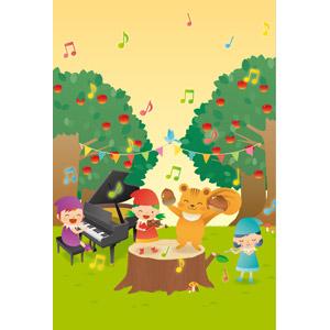 フリーイラスト, ベクター画像, EPS, 背景, 音楽, 音楽会(演奏会), 栗鼠(リス), 切り株, 妖精(フェアリー), ピアノ, バイオリン, フルート, リンゴ, フラッグガーランド, 秋, 演奏する, 音符, 楽器, 青い鳥