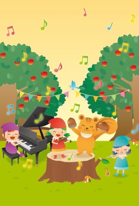 フリーイラスト リスと妖精の森の音楽会