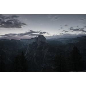 フリー写真, 風景, 自然, 渓谷, 岩山, ヨセミテ国立公園, カリフォルニア州, アメリカの風景, 日暮れ, ハーフドーム