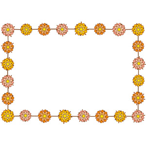 フリーイラスト, ベクター画像, EPS, 背景, フレーム, 囲みフレーム, 植物, 花, ダリア