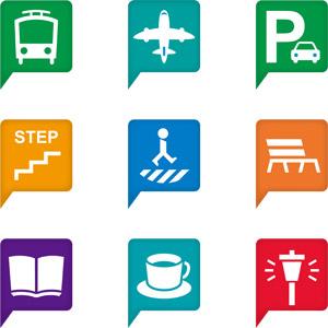 フリーイラスト, ベクター画像, AI, アイコン, 地図アイコン, 電車, 鉄道駅, 飛行機, 空港, 駐車場, 横断歩道, ベンチ, 本屋, 図書館, 喫茶店(カフェ), 街灯, 公園, 旅客機