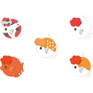 フリーイラスト, ベクター画像, AI, 動物, 魚類, 魚(サカナ), 金魚(キンギョ), ランチュウ