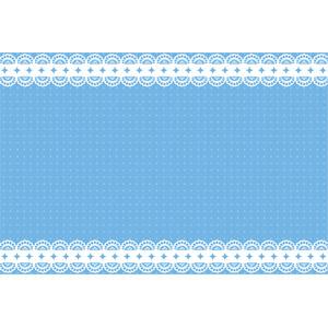 フリーイラスト, ベクター画像, EPS, 背景, フレーム, 上下フレーム, レース編み, 青色(ブルー)
