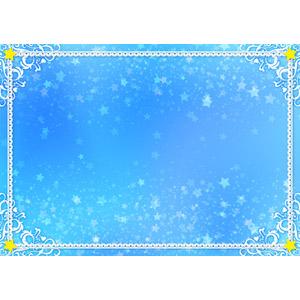 フリーイラスト, ベクター画像, AI, 背景, フレーム, 囲みフレーム, レース編み, 青色(ブルー), 星(スター)