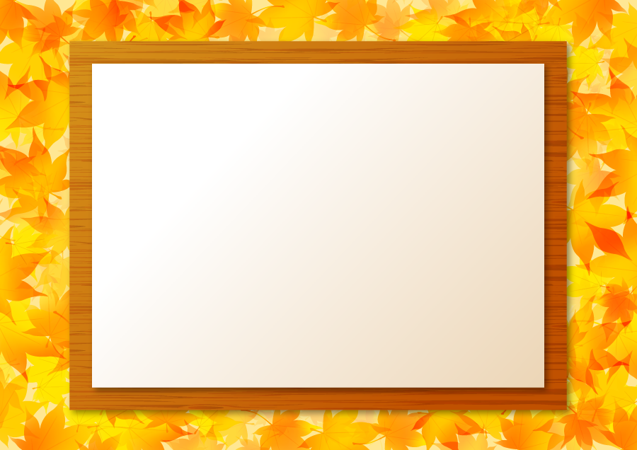 フリーイラスト もみじの落ち葉と掲示板と貼り紙の飾り枠