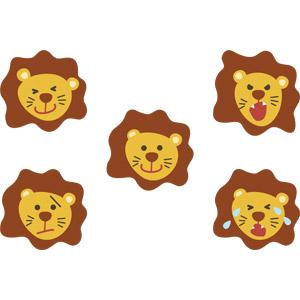 フリーイラスト, ベクター画像, AI, 動物, 哺乳類, ライオン, 動物の顔, 喜ぶ(動物), 怒る(動物), 泣く(動物), 困る(動物)