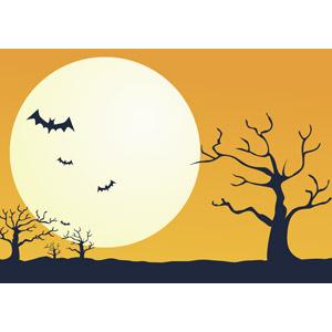 フリーイラスト, ベクター画像, AI, 背景, 年中行事, ハロウィン(ハロウィーン), 10月, 秋, 月, 満月, コウモリ, オレンジ色, 枯れ木