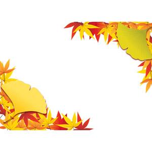 フリーイラスト, ベクター画像, AI, 背景, フレーム, 対角フレーム, 植物, 葉っぱ, もみじ(カエデ), イチョウ, 紅葉(黄葉), 秋, 落葉(落ち葉)