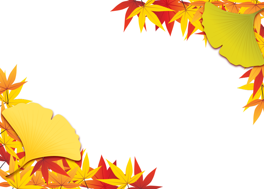 フリーイラスト 紅葉したもみじといちょうの葉の秋のフレーム