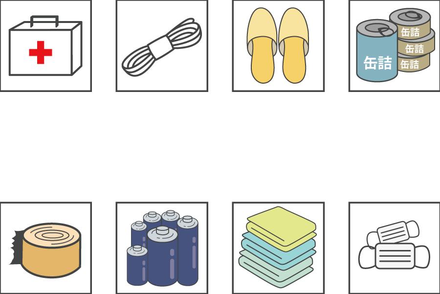 フリーイラスト 救急箱や缶詰などの防災グッズのアイコンセット