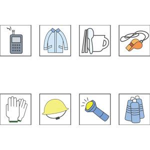 フリーイラスト, ベクター画像, EPS, アイコン, 防災グッズ, ラジオ, コート, ホイッスル, 軍手, 防災用ヘルメット, 飲料水, 懐中電灯, 使い捨て食器
