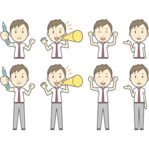 フリーイラスト, ベクター画像, AI, 人物, 少年, 少年(00274), 学生(生徒), 高校生, 学生服, シャープペンシル(シャーペン), 頑張る, 応援する, メガホン(拡声器), ガッツポーズ, 案内する
