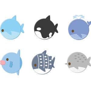 フリーイラスト, ベクター画像, AI, 動物, 哺乳類, 魚類, イルカ, 鯨(クジラ), シャチ, マンボウ, ジンベエザメ, 鮫(サメ), イッカク