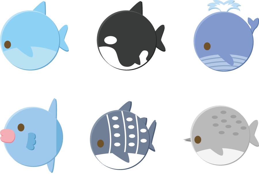 フリーイラスト イルカやクジラなどの丸い動物のセット