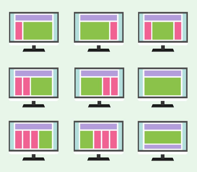 フリーイラスト パソコンの画面に表示されたウェブページのレイアウトのセット