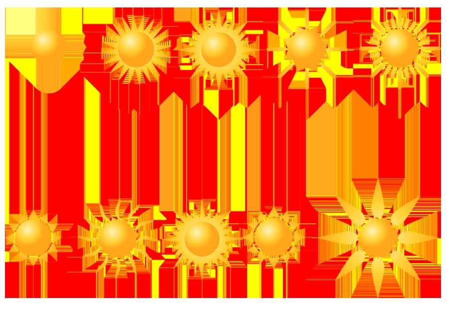 フリーイラスト 10種類の太陽のセット