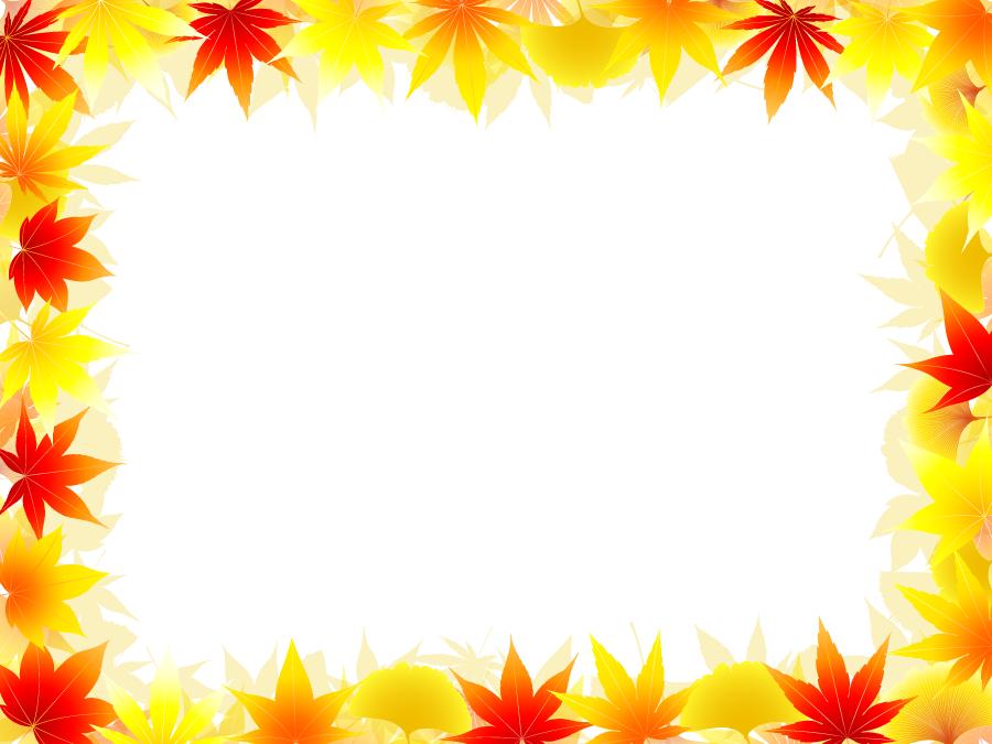 フリーイラスト 紅葉したモミジとイチョウの葉の飾り枠